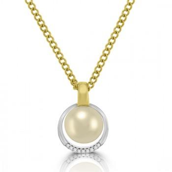 9ct Gold Pearl & Diamond Pendant