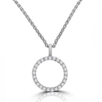 9ct White Gold Diamond Halo Pendant