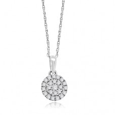 9ct White Gold Pave Diamond Halo Pendant chain
