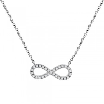 9ct White Gold Infinity Diamond Pendant Chain