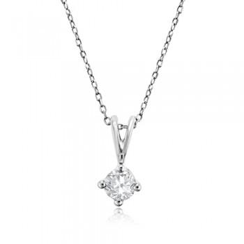 9ct White Gold .25ct Diamond Solitaire Pendant chain