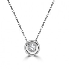 9ct White Gold Full Moon .10ct Diamond Pendant