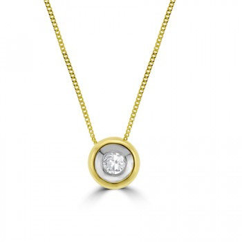 9ct Gold .10ct Diamond Full Moon Pendant