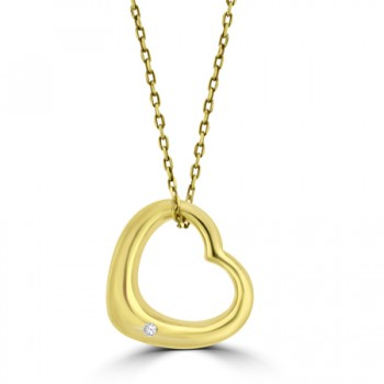9ct Gold Diamond Heart Pendant Chain