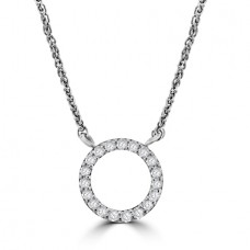 9ct White Gold Diamond Open Circle Pendant Chain