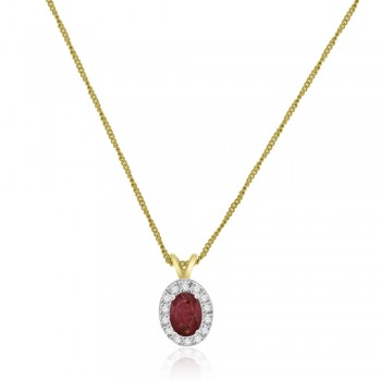 9ct Gold Ruby & Diamond Oval Halo Pendant