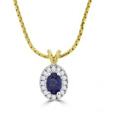 9ct Gold Sapphire & Diamond Oval Cluster Pendant
