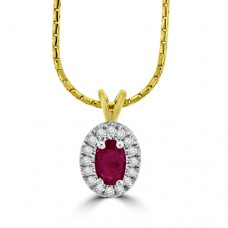 9ct Gold Ruby & Diamond Oval Cluster Pendant
