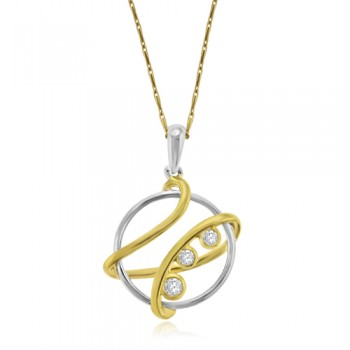 9ct Gold Abstract Diamond Pendant