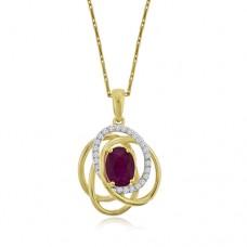9ct Gold Absract Ruby & Diamond Pendant