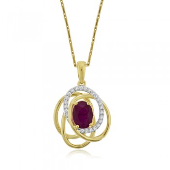 9ct Gold Absract Ruby & Diamond Pendant