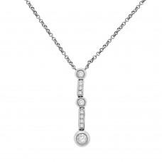 9ct White Gold Rubover Diamond Dropper Pendant Chain