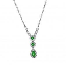 9ct White Gold Emerald & Diamond Pendant Chain