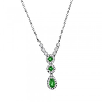 9ct White Gold Emerald & Diamond Pendant Chain