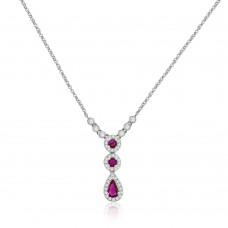 9ct White Gold Ruby & Diamond 3-Tier Pendant Chain