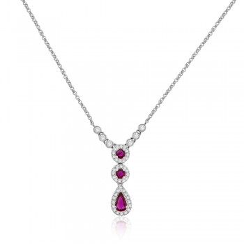 9ct White Gold Ruby & Diamond 3-Tier Pendant Chain
