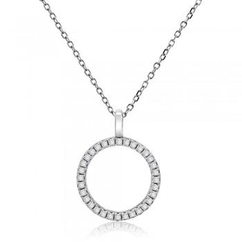 9ct White Gold Diamond Circle of Life Pendant Chain