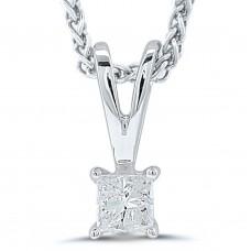9ct White Gold Princess cut Diamond Pendant Chain
