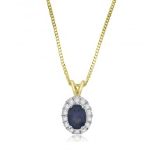 9ct Gold Sapphire & Diamond oval Halo Pendant chain