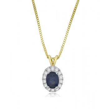 9ct Gold Sapphire & Diamond oval Halo Pendant chain