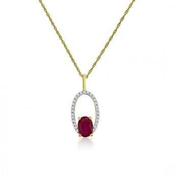 9ct Gold Ruby & Diamond Oval Pendant Chain
