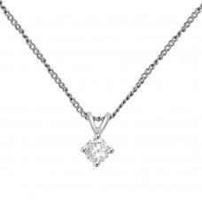 9ct White Gold Solitaire .20ct Diamond Pendant Chain