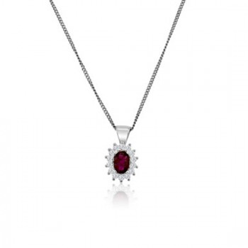 9ct White Gold Ruby & Diamond Oval Cluster Pendant