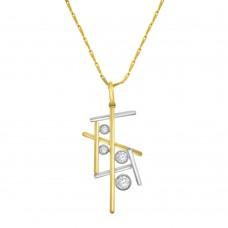 9ct Yellow & White Gold Diamond Stick Pendant