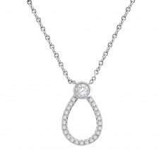 9ct White Gold Open Pear shaped Diamond Pendant Chain