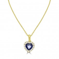 9ct Gold Sapphire Heart and Diamond Halo Pendant