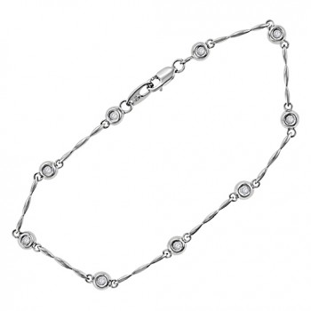 9ct White Gold 9-stone Diamond Bracelet