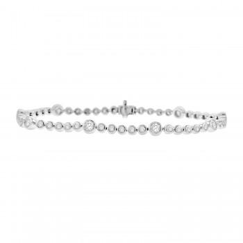 9ct White Gold 2.19ct Diamond Rubover Tennis Bracelet
