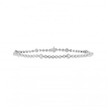 9ct White Gold 1.50ct Diamond Rubover Tennis Bracelet