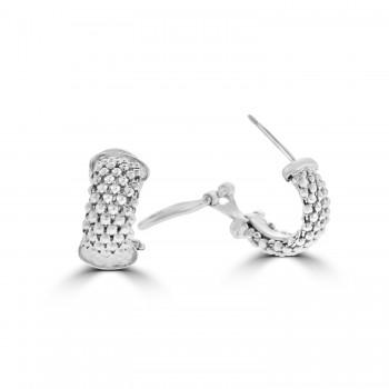 Sterling silver Huggy Style Mesh Earrings