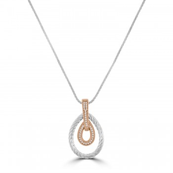 Sterling silver & Rose Gold Cubic Zirconia Pendant Chain