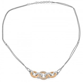 Sterling Silver & Rose Gold  Cubic zirconia 17