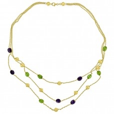 18ct Gold Triple Strand Green & Purple Tourmaline 18