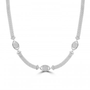 Sterling silver Cubic Zirconia Mesh Collar