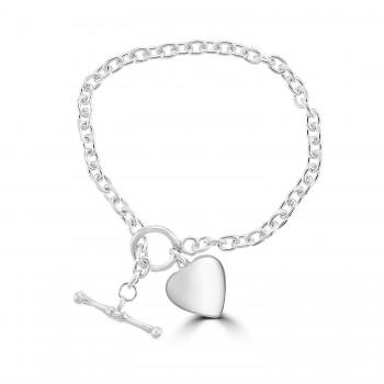Silver Heart T-bar Bracelet