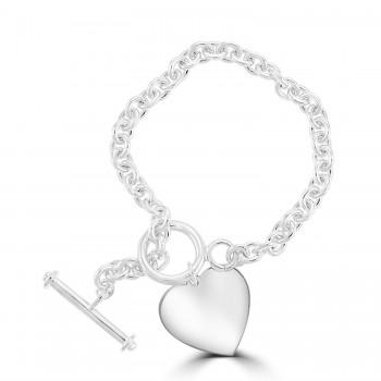 Silver Heavy T-Bar and Heart Bracelet.