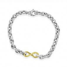 Sterling silver & 9ct Gold Infinity 7.5