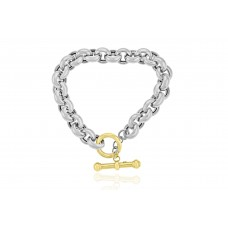 Sterling silver & 9ct Yellow Gold Gemoro T-Bar Bracelet