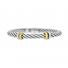 Sterling silver & 18ct Gold Vermeil Hinged Bangle