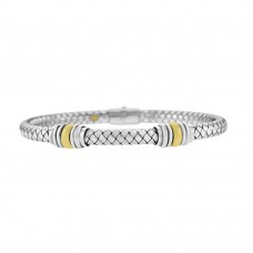 Sterling Silver & 18ct Yellow Gold Gemoro Bangle
