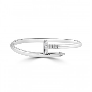Sterling Silver Wraparound Nail Bangle