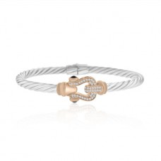 Sterling silver & Rose Cubic Zirconia Buckle Bangle