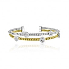 Sterling silver & Yellow Cubic zirconia Torq Bangle