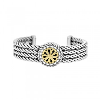Sterling Silver & 18ct Yellow Gold Wheel Torque Bangle