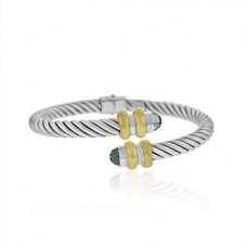 Sterling silver & 18ct Gold Blue stone HInged Bangle