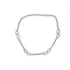 Sterling Silver & 18ct Yellow Gold Double Chain Necklet